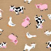 Jerseystoff Kühe Schweine Schafe, beige