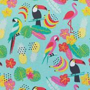 Jerseystoff Papagaie Blumen, mint