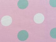 BW Pastellpunkte 3,5 cm, mint/weiss auf rosa