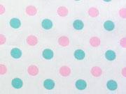 RESTSTÜCK 86 cm BW Pastellpunkte 0,8 cm, mint/rosa auf weiss