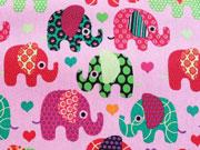 RESTSTÜCK 87 CM Stretchjeans Elefanten -bunt/rosa