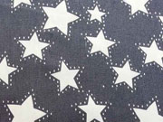 RESTSTÜCK 89 cm Stretchjeansstoff Sterne, dunkelblau