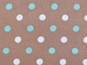 BW Pastellpunkte 0,8 cm, mint/weiss auf braun