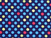 Jersey bunte Punkte 0,7cm, dunkelblau