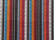 Dickerer Stoff Mexiko Kreuze Streifen, schwarz orange