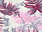 Viskose Leinen große Blätter, rosa grau cremeweiß
