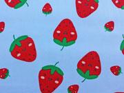 Baumwollstoff große Erdbeeren, rot hellblau