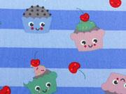 RESTSTÜCK 32 cm BW Cupcake Gesichter, hellblau