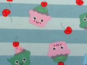Baumwolle Cupcake Gesichter, mint