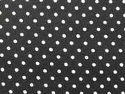 RESTSTÜCK 50 cm beschichtete Baumwollstoff 2mm Punkte-weiss auf schwarz