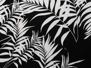 RESTSTÜCK 115 cm Viskose Blätter - weiß auf schwarz