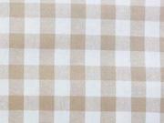 beschichtete Baumwolle Karo, beige weiss