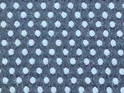 RESTSTÜCK 94 cm Strukturstoff mit Stretch Punkte, blau auf grau