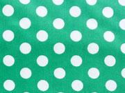 beschichtete Baumwolle Punkte 7mm, weiß grasgrün