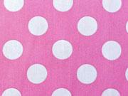 RESTSTÜCK 40 cm Baumwollstoff Punkte 2,2 cm, weiss auf pastellpink