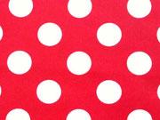 RESTSTÜCK 106cm BW Punkte 2,2 cm - weiss auf rot