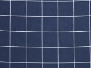 Reststück 85cm Blusenstoff Linien & Quadrate, dunkelblau