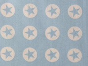 Baumwollstoff Sterne im Kreis 1,8 cm - weiss auf hellblau