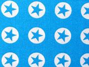 Baumwollstoff Sterne im Kreis 1,8 cm - weiss auf türkis