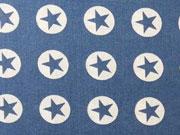 Baumwollstoff Sterne im Kreis 1,8 cm - weiss auf jeansblau