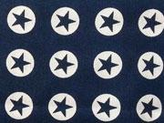 BW Sterne im Kreis 1,8 cm - weiss auf dunkelblau