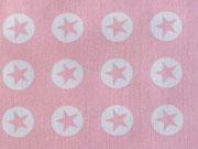 Baumwollstoff Sterne im Kreis 1,8 cm - weiss auf babyrosa