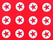 Baumwollstoff Sterne im Kreis 1,8 cm - weiss auf kirschrot