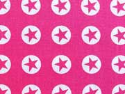 Baumwollstoff Sterne im Kreis 1,8 cm - weiss auf pink (fuchsia)