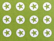 Baumwollstoff Sterne im Kreis 1,8 cm - weiss auf kiwigrün