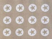 RESTSTÜCK 17 cm Baumwollstoff Sterne im Kreis 1,8 cm - weiss auf beige