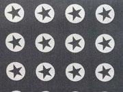 BW Sterne im Kreis 1,8 cm - weiss auf dunkelgrau