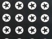 Baumwollstoff Sterne im Kreis 1,8 cm - weiss auf schwarz