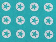 Baumwollstoff Sterne im Kreis 1,8 cm - weiss auf aquamarin