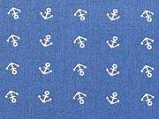 RESTSTÜCK 97 cm Baumwollstoff Mini Anker, weiss jeansblau
