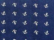 RESTSTÜCK 40 cm Baumwollstoff Mini Anker, weiss auf dunkelblau