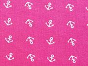 RESTSTÜCK 39 cm Baumwollstoff Mini Anker, weiss auf fuchsia (pink)