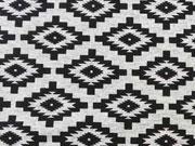 RESTSTÜCK 28 cm Jersey Mexican Look, schwarz graumelange