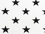 Jersey Sterne 2cm,  schwarz/cremeweiss