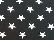 Jersey Sterne 2cm, cremeweiss/schwarz