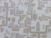 Baumwollstoff Stadt - taupe auf weiß