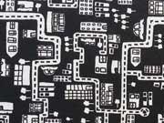 Baumwolle Stadt - creme auf schwarz