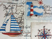 Dekostoff Maritime Motive, creme/blau/rot