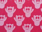 Baumwollstoff Gespenster - rosa auf fuchsia (pink)