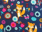 RESTSTÜCK 100 cm Jackenstoff Softshell Füchse & Blumen, dunkelblau