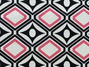 Jersey Ornamente, schwarz/weiß mit pink
