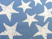 Jeansjersey  mit Sternen, hellblau
