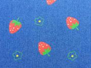 RESTSTÜCK 67 cm Stretch Jeans Erdbeeren, mittelblau