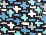 RESTSTÜCK 94 cm Jersey kleine Pinselkreuze, schwarz/mint