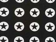 RESTSTÜCK 46 cm Jackenstoff Softshell Sterne im Kreis, schwarz