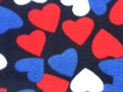 Fleece große Herzen, dunkelblau